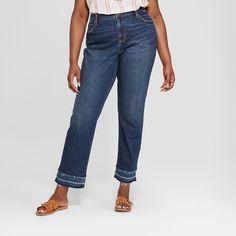 400a11e3cab Women s Plus Size Released Hem Boyfriend Jeans - Universal Thread Dark Wash