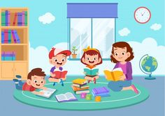 Happy kids studying together with their teacher Premium Vector Kids Study, Book Study, Kids Going To School, Planets Wallpaper, Background Powerpoint, School Clipart, Kindergarten, Child Love, Kids Reading