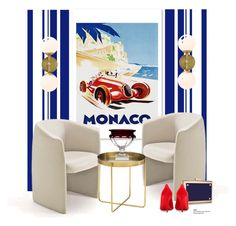 """Monaco Grand Prix art..."" by gloriettequartet ❤ liked on Polyvore featuring interior, interiors, interior design, home, home decor, interior decorating, Oliver Gal Artist Co., Nuevo, Arteriors and Fabergé"