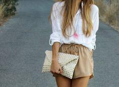 white shirt, beige shorts