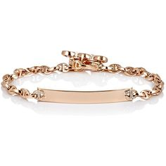 HOORSENBUHS Monogram ID Bracelet found on Polyvore featuring jewelry, bracelets, colorless, 18k jewelry, id bracelet, polish jewelry, 18k bangle and clear crystal jewelry