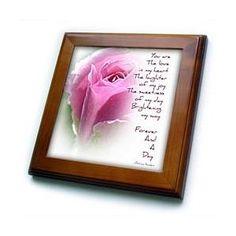 Forever Rose Poem- Floral Photography- Love - Framed Tiles