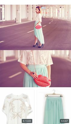 This is Wioletta Mary Kate's buyer show in OurMall;  1.White Half Sleeve Bead Dipped Hem T-Shirt 2.Blue Elastic Waist High Low Chiffon Skirt #SKIRT #SHOE please click the picture for detail. http://ourmall.com/?UZNrAr