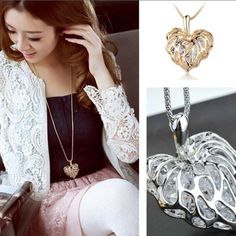 Gold Hollow Heart Necklace With Stones