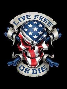 Live Free or Die Skull Decal - Rebel Highway Skull Tattoos, Body Art Tattoos, Tatoos, American Flag Eagle, American Pride, Live Free Or Die, Skull Pictures, Skull Artwork, Skull Art