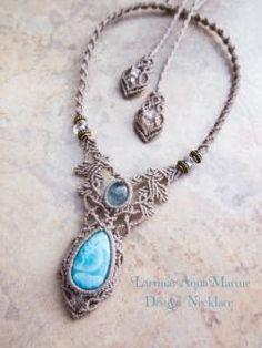 Larimar (Dominikánská produkce) Aquamarine (Afghan) náhrdelník