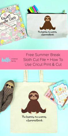 Free Summer Break Sloth Cut File + How To Use Cricut Print & Cut - Back to School - How To Use Cricut, How To Make Diy, Homemade Heating Pad, Cricut Iron On Vinyl, Cricut Print And Cut, Diy Locker, Diy Wood Wall, Diy Blanket Ladder, Free Summer