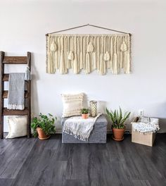 "60""× 28"" Large macrame wall hanging/large woven wall hanging/large yarn wall hanging/large yarn tapestry/Tassel wall hanging Large Macrame Wall Hanging, Yarn Wall Hanging, Wall Hangings, Jute Twine, Black Decor, Wall Spaces, Large Wall Art, Wooden Beads, Tapestry"