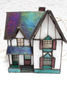 Lighted Stained Glass Jackson Farmhouse Vintage Village Creative Craftsmen