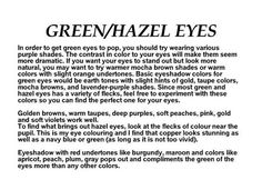 Gorgeous Makeup: Tips and Tricks With Eye Makeup and Eyeshadow – Makeup Design Ideas Green Eyes Facts, Eye Color Facts, Eye Color Chart, Hazel Green Eyes, Eye Facts, Green Smokey Eye, Black Eye Makeup, Hazel Eye Makeup, Makeup For Green Eyes