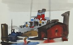 detail crop of a Reynold Weidenaar watercolor. Image is an abstract landscape with a red cottage by the water