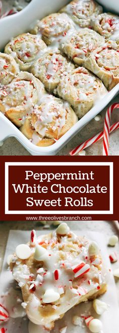 Make ahead rolls perfect for Christmas morning breakfast or brunch! Home made sweet rolls that are perfect for a new family holiday tradition. Vegetarian recipe and kid friendly comfort food, also great for parties. Peppermint White Chocolate Sweet Rolls | Three Olives Branch | www.threeolivesbranch.com #christmasrecipe #christmasbreakfast #peppermintrecipe