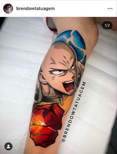 Anime One Punch Man, Saitama One Punch Man, Tatoo 3d, I Tattoo, Future Tattoos, Tattoos For Guys, Estilo Geek, Anime Tattoos, Tatting