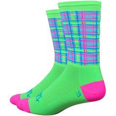 """DeFeet Aireator Neon Tartan 6"""" Socks Cycling Socks"""