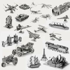3d rompecabezas de metal de tierra de vehículo de combate aviones modelo diy rompecabezas famoso edificio de insectos escala nano decoración juguetes