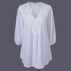 Verão Mulheres Elegantes Blusas de Renda Floral Crochet Camisa Chiffon Camisas Das Senhoras Top Femme Pullover Desgaste Básico Plus Size S 5XL em Blusas & Camisas de Das mulheres Roupas & Acessórios no AliExpress.com | Alibaba Group