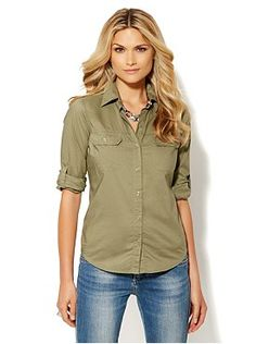 Two-Pocket Button-Front Shirt from New York & Company