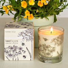 Honey Lily is a delicate honeyed, floral scent with notes of vanilla. Beefayre's natural plant wax candles are hand poured into botanical print recycled glass. They are inspired by the flowers that honeybees forage on in an English Country Garden.They are vegan friendly, PETA certified and havea cotton wick. All of their candles come boxed and wrapped in Beefayre's botanical print, designed by founder Sharon Jervis. The glass is dishwasher safe, so you can washout the glass...
