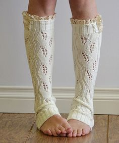 Take a look at this Ivory Leaf Ruffle Leg Warmers on zulily today!