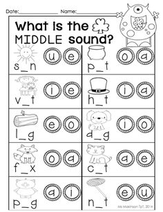 Printables Middle Sound Worksheets stamps literacy and wood blocks on pinterest march printable packet kindergarten math cvc medial sound perfect for