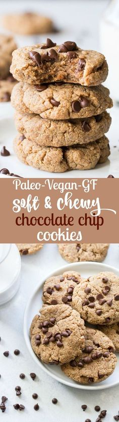 These Paleo and Vegan Chocolate Chip Cookies are soft, delicious and secretly so good for you! They can be sweetened with either dates or pure maple syrup and have a chewy texture and nutty flavor thanks to almond butter. Kid approved, gluten free, dairy free.
