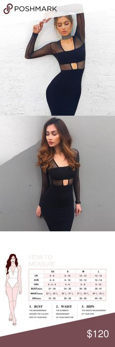 Mesh Long Sleeve Cutout Bandage Dress #793 Black mesh long sleeve cutout bandage dress.  Made from the best quality bandage material.  Material: 90% rayon, 9% nylon, 1% spandex Dry Clean Only  Price is firm unless bundled Rumor Apparel Dresses