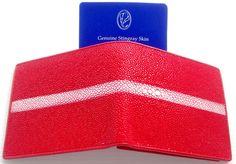 100% GENUINE STINGRAY LEATHER w/ROW BIFOLD WALLET SHINY RAD ZIP GRADE A NEW #StingraySkin #Bifold