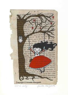 SALE  Girl on swing Print by carambatack on Etsy
