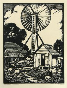 "William Seltzer Rice: ""Joe Legorio's Windmill"", circa 1935; linoleum block print."