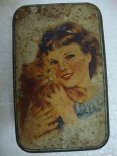 Vintage Rare A Beautiful Lady With Her Cute Cat Litho Print Tin Box