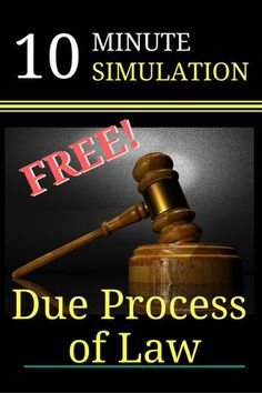 FREEBIE!! 10 Minute Simulation: Due Process of Law. FREE PDF Due Process of Law lesson plan helps students to quickly gain a clear understanding of both procedural due process and substantive due process. Critical thinking and extended learning activities include a free fundamental rights worksheet and answer key. Make civics come to life with examples students can relate to! #dueprocess #14thamendment #5thamendment #civilrights #free #government #billofrights #usconstitution #civics