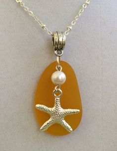Sea Glass Silver Starfish and Pearl Necklace by joytoyou41