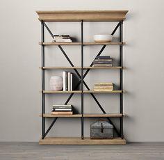 "84"" Parisian Cornice Wide Bookcase Restoration Hardware - Interesting option instead of a buffett or china cabinet"