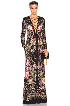 Image 1 of Roberto Cavalli Lace Up Long Dress in Black