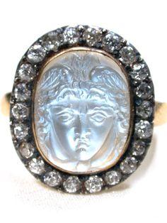 Antique Carved Hermes Moonstone Diamond Ring, 1880-90