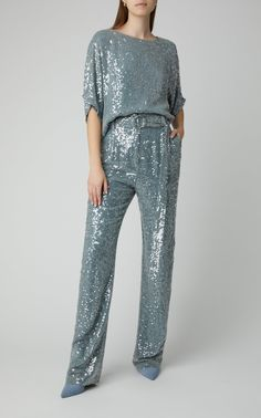 Sequined Crepe Straight-Leg Pants by Sally LaPointe Nye Outfits, New Years Eve Outfits, Winter Trends, Straight Leg Pants, Frame Denim, Ideias Fashion, Fashion Dresses, Sequins, Street Style