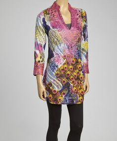 Love this Pink Embroidered Peacock Tunic - Plus by Sol Clothing on #zulily! #zulilyfinds