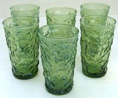 Milano green vintage juice glasses, we had these when I was growing up...they were hard to get clean...all those bumps in the glass for drink stains..yuk!