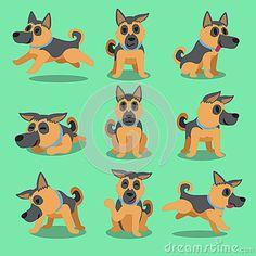 Cartoon character german shepherd dog poses