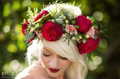 Floral Crowns-flowers to wear {Part 4 of — Sophisticated Floral Designs-Portland Oregon Wedding and Event Florist – Jami – Hair Red Red Flower Crown, Flower Crown Wedding, Floral Wedding, Wedding Flowers, Wedding Events, Wedding Day, Weddings, Floral Headdress, Hair Wreaths