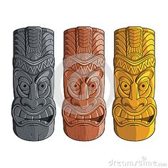 An isolated illustration of hawaiian tiki totems made of stone, carved wood and gold. Wood Carving Faces, Dremel Wood Carving, Wood Carving Designs, Wood Carving Patterns, Wood Carving Art, Bone Carving, Wood Patterns, Tiki Head, Tiki Statues