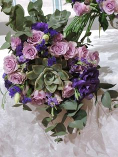 Bouquet in purples, lavender and gray