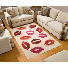 Terra Kiss Rectangle Area Rug White/Orange/Red - perfect for makeup studio!