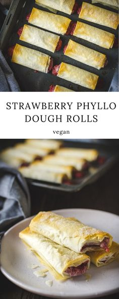 Strawberry phyllo dough rolls is a delicious, quick and easy vegan dessert recipe made with phyllo dough pastry filled with a mixture of semolina, strawberries, and sugar. Healthy Vegan Dessert, Cake Vegan, Vegan Dessert Recipes, Delicious Vegan Recipes, Vegan Sweets, Easy Desserts, Potluck Recipes, Vegan Food, Healthy Food