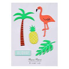 5 stickers 3D thème tropical
