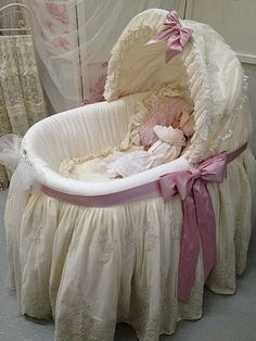 "A bassinet, bassinette, or cradle is a bed specifically for babies from birth to about four months, and small enough to provide a ""cocoon"" that small babies find comforting. Shabby Chic Baby, Baby Basinets, Cradles And Bassinets, Vintage Baby Clothes, Dream Baby, Reborn Baby Dolls, Baby Needs, Baby Time, Baby Furniture"