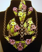 Vintage 1939 Trifari Enamel Necklace Bracelet Brooch Fur Clip Earrings from The Vintage Carousel on Ruby Lane