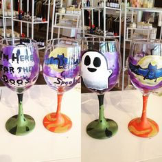 Painted Halloween glasses by Mary Levinsky