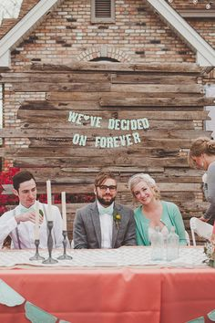 Reclaimed Wood Decorations: Reclaimed wood is a must for any fall wedding DIY projects. Using it as a backdrop behind your wedding party table or the sweethearts' table is an adorable way to accent your fall reception.