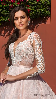 crystal design 2017 bridal long sleeves deep plunging sweetheart neckline heavily embellished bodice lace princess pink ball gown wedding dress keyhole back monarch train (jovana) zv